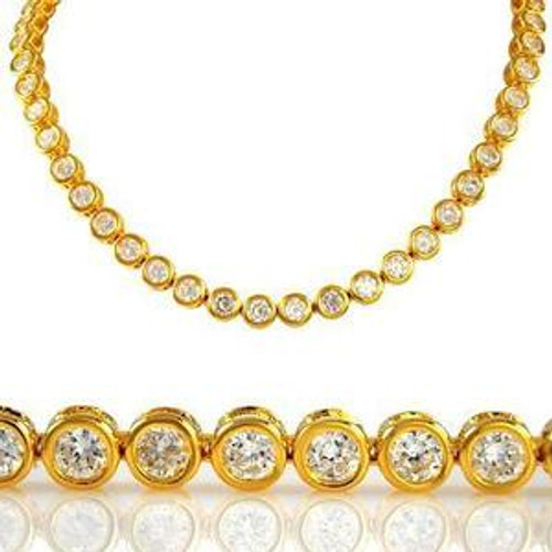 Iced Out Gold & Clear Stone Bullet Chain 36""