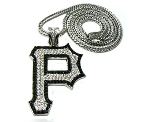 """1-Wiz Khalifa SILVER ""P"" Piece w/FREE 36"" Chain *BLACK TRIM"