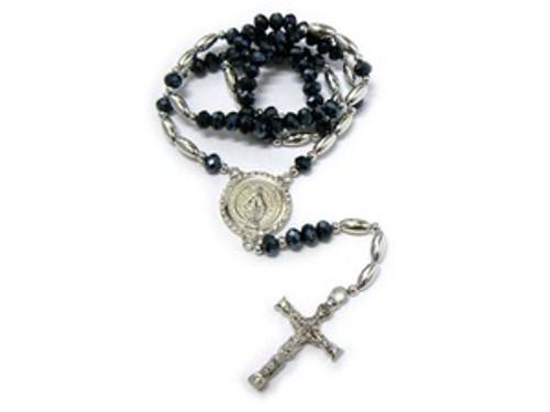 """Shambhala Black Diamond Rosary Bead Chain with Cross#4"