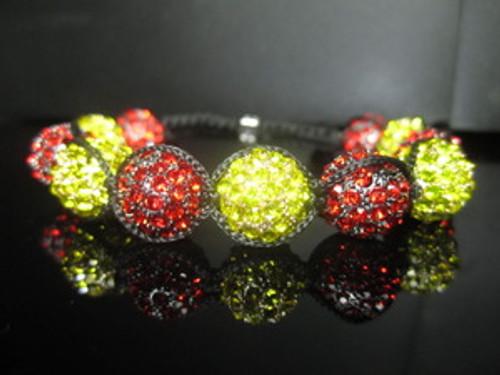 """Men's Miami Heat Shambhala Bracelet-12MM Fine Austrian Crystal"