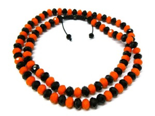 """BLACK & ORANGE  Shambhala 10MM x 36"" Chain-SALE"