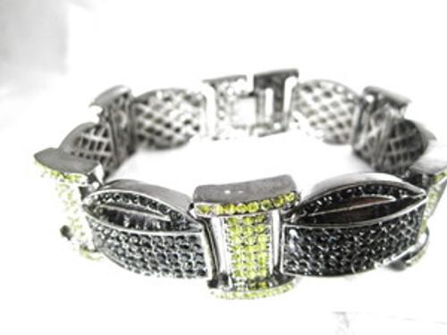 """'1-Wiz Khalifa Iced Black & Yellow Piece Chain 9"""" Bracelet 2"""