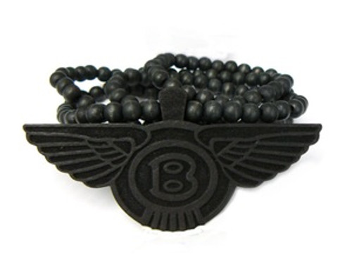 """Bentley-Black Good Wooden Pendant w/ FREE  36""Bead chain"