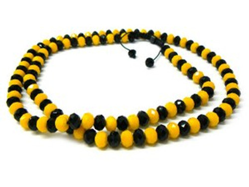 """BLACK &YELLOW  Shambhala 10MM x 36"" Chain"