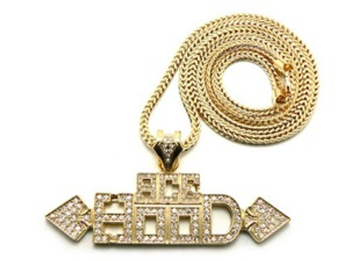 """1""""-ACE Hood Gold Plated Hip Hop Pendant w/FREE 36"""" Chain"""
