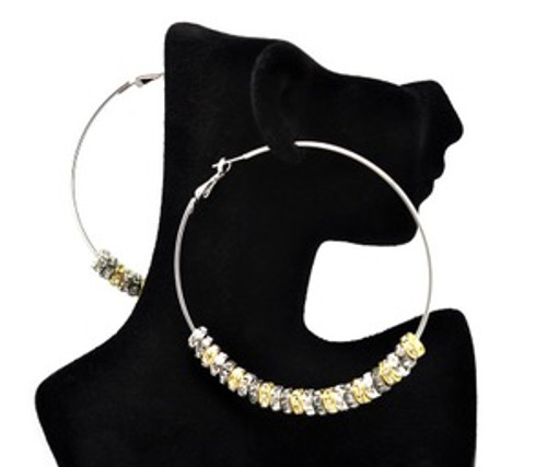 """Basketball Wives Earrings-Silver & Gold Hoops"