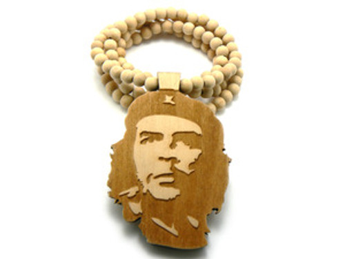 """""""Che Guevara Freedom Fighter Natural Good Wooden pendant w/ FREE beaded chain"""