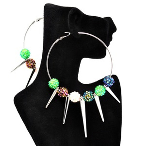 """""""Basketball Wives-Color Iced Out Spikes earrings 2"""