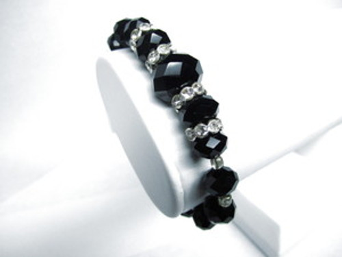 """SHAMBHALA BLACK DIAMOND /LADIES STRETCH Macrame Beaded bracelet"
