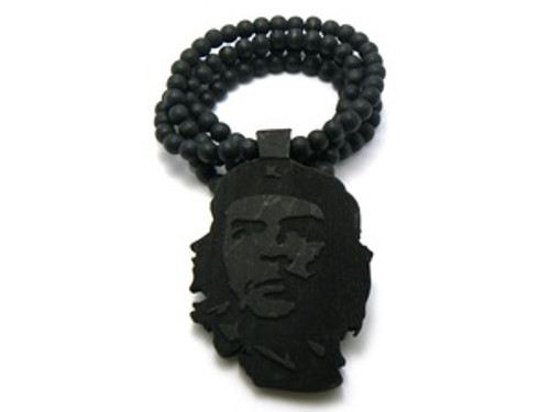 """""""Che Guevara Freedom Fighter Black Good Wooden pendant w/ FREE beaded chain"""