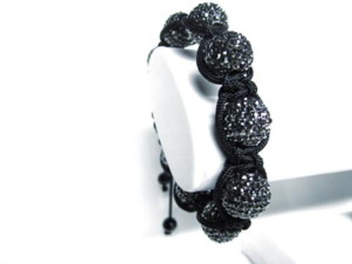 """GOTHAM BLACK DIAMOND  X-WIDE/Xtra crystals  Shamballa Bracelet"