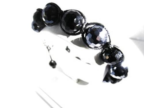 SHAMBHALA Black Onyx,Blue Ball Bracelet