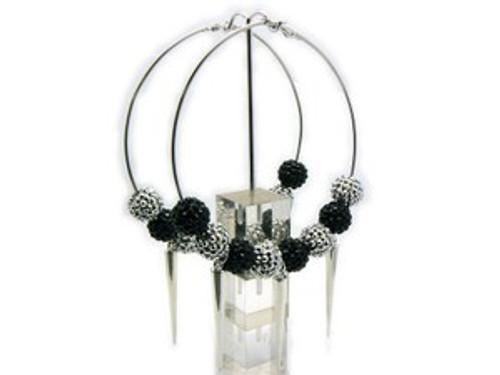 """""""Basketball Wives Earrings-Black & Silver Hoops"""