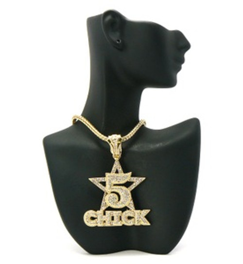 """5 Star Chick Pendant Gold/Clear w/FREE Chain"