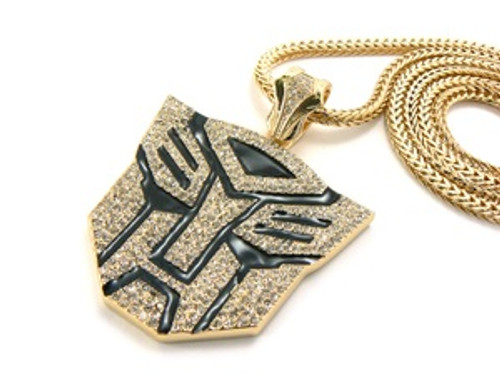 """14K Iced Out Gold Tone Black Transformers Chain"