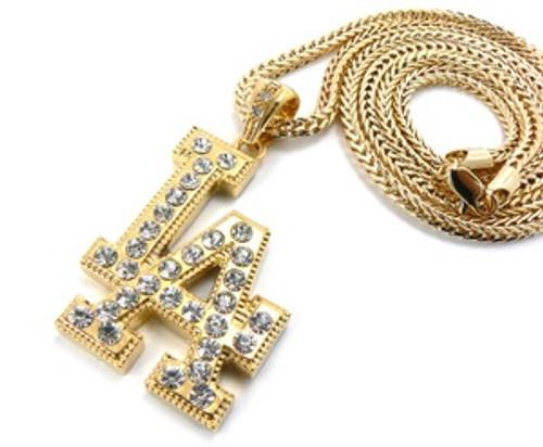 """""""LA Gold Pendant w/FREE 36"""" Chain ICED"""
