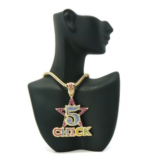 """5 Star Chick Pendant Gold/multicolor w/FREE Chain"