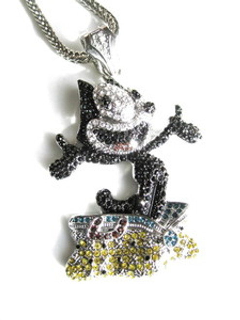 """Felix the Cat Custom Iced Out Pendant w/FREE 36"" Chain"