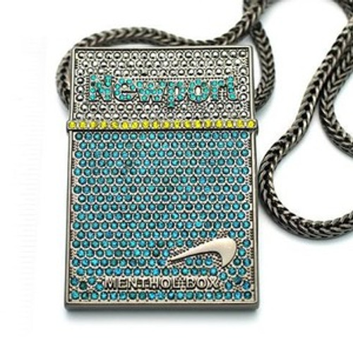 """ICED OUT NEWPORT CIGS /Black hematite NEW PIECE & FRANCO CHAIN 3""x 2"" large pendant