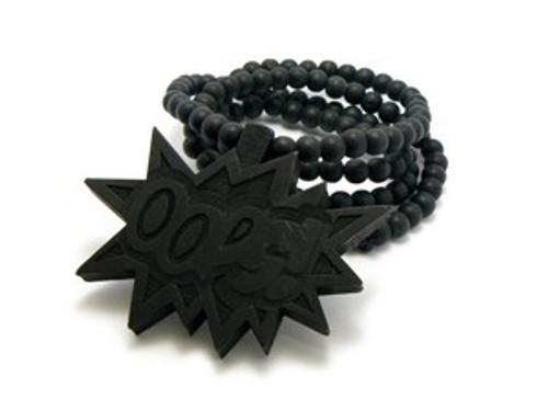 """""""Black OOPS-Chris Brown WOOD Pendant & Chain"""