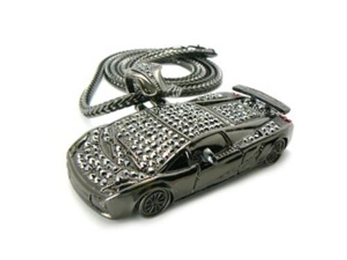 """Soulja Boy Fully Iced Out 3.5"" Black Lamborghini pendant w /FREE 36"" Chain"