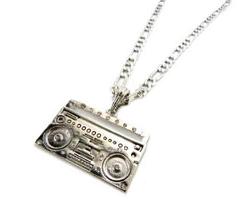 """BIG BOOM BOX PENDANT-SILVER w/FREE 36"" Chain"
