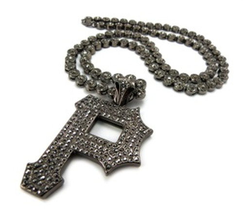 """Pittsburgh- ICED OUT Letter """"P"""" Pendant  w/FREE  36"""" Chain"""