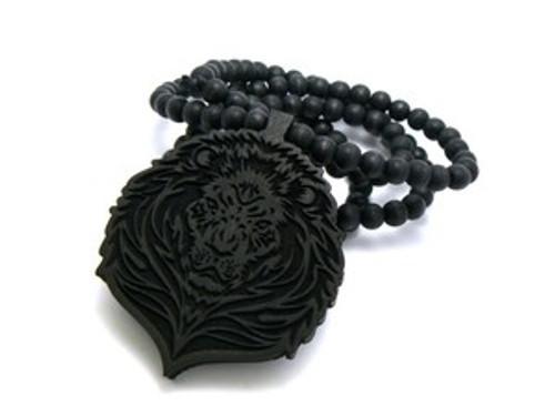 """""""Black Wood LION FACE Pendant & Chain"""