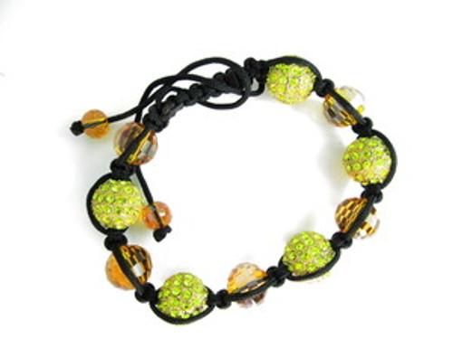 """LA  Garden Princess Yellow Crystal Shambhala Bracelet"