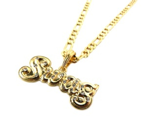 """Swag Gold Iced Out Pendant & FREE 36""Chain"