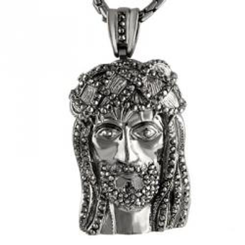 """Large Dark Silver With Micro Pave Stones Jesus Face Pendant"