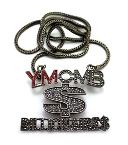 """1-YMCMB-Billionaires Black Hematite/RED Pendant w/FREE 36"" Chain"