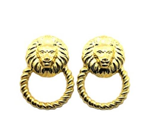 """Rihanna Gold Lion Hoop earrings 14k gold plated"