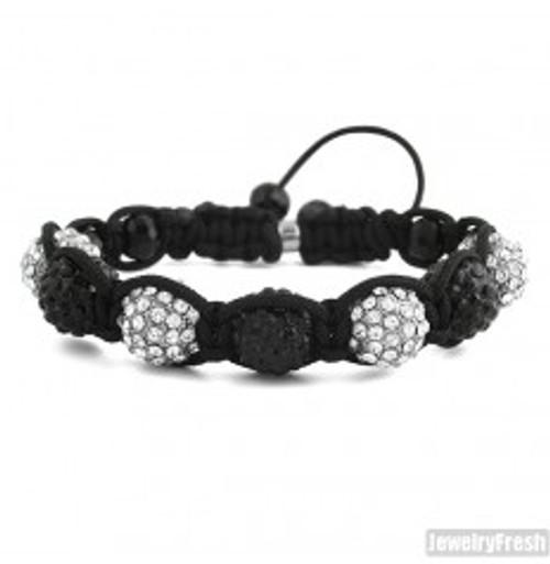 """Black & White Custom Iced Shambhala Bracelet"