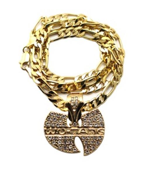 """1-WU-TANG2  Gold Pendant w/FREE 30"" Cuban link Chain"