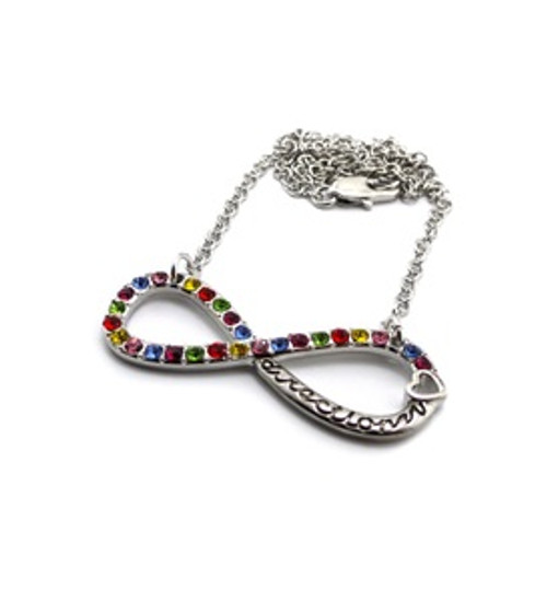 """Silver 8 Multicolor stone Pendant and Chain Set"