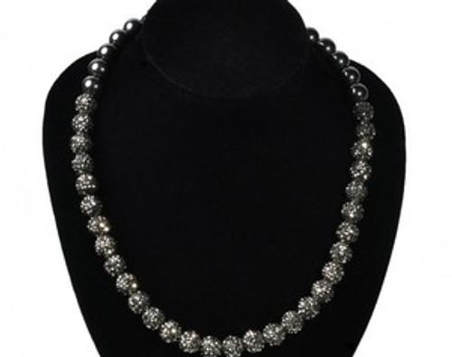 """Shambhala Blackball Crystal Necklace"