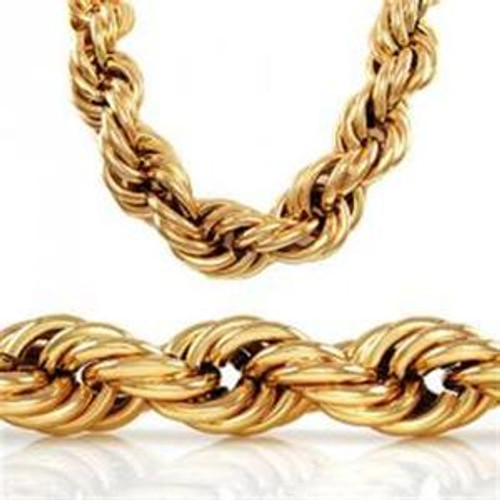 """20MM x36"""" """"GOLD PLATED  FAT HIP HOP ROPE CHAIN"""