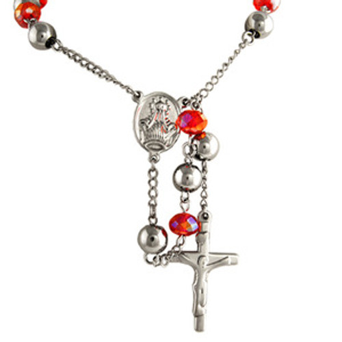 """""""Silver Rose Red Stainless Steel Crucifix Rosary $34.99_thumb.jpg"""