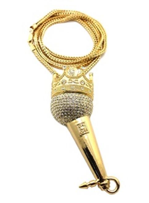 "BIG KING SIZE 4.5"" King Rapper Microphone w/FREE 36"" Chain / SILVER"