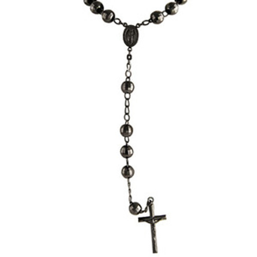 """Black Metal Crusifix Rosary $49.99"