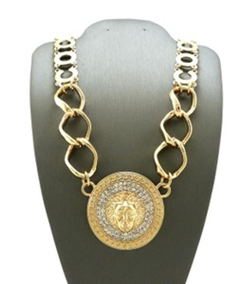 """""""NEW-Versace style Gold Medal Pendant w/Chain"""