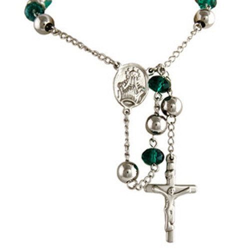 """""""Silver Crystal Teal Bead Crucifix Rosary"""
