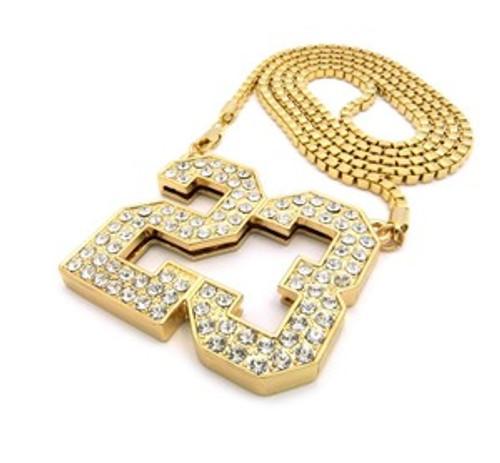 """1-New Michael Jordan Gold #23 Pendant & FREE 36"" Chain"