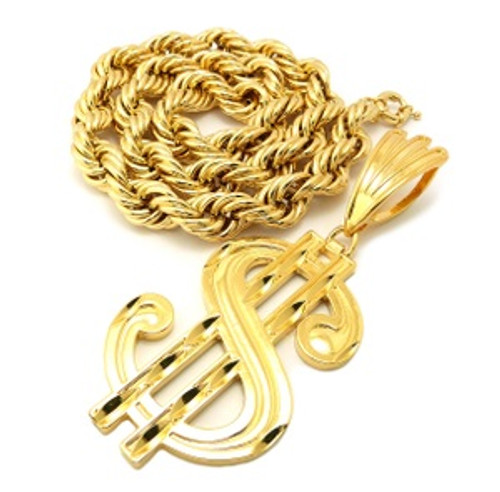 """14k$ XLarge Sign Pendant Gp - 2.65"" & 6.25"" With 18mm 30"" Hollow Rope Chain)"