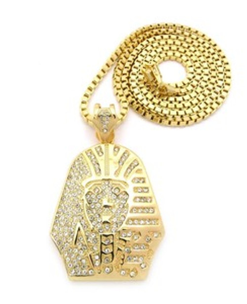 """1-King Tut Gold Pendant w/FREE 36"" Chain"