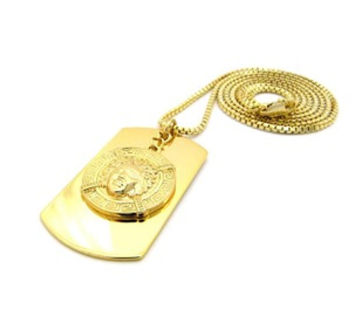 """""""1-Versace Style Dog Tag-Gold"""