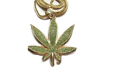"Marijuana Green WEED Pendant Fully Iced Out w/FREE 36"" Chain (GOLD) 4""x 3.5"""
