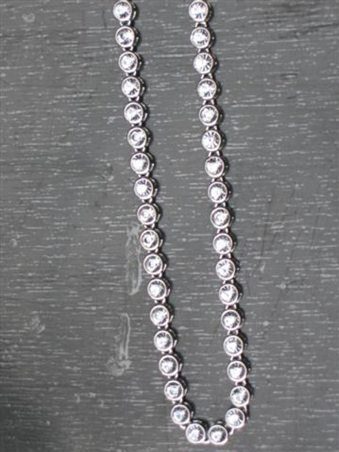 """Iced Out  36"""" Silver Bullet Chain Clear stones CZ Hip Hop Chain .."""