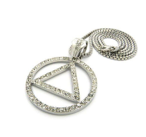 """Silver Hip Hop ICED Rapper Piece Triangle inside Circle w/FREE 36"""" Chain"""